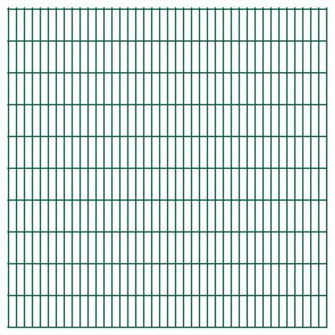 Panneaux de clôture 2 D de jardin 2008 x 2030 mm 8 m Vert