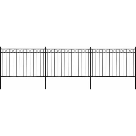 Panneaux de clôture avec poteaux Acier 6x2 m Noir