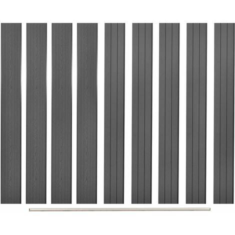 Panneaux de clôture de remplacement 9 pcs WPC 170 cm Gris