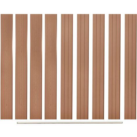 Panneaux de clôture de remplacement 9 pcs WPC 170 cm Marron