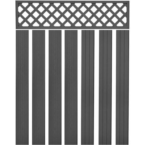 Panneaux de clôture de remplacement WPC 7 pcs 170 cm Gris