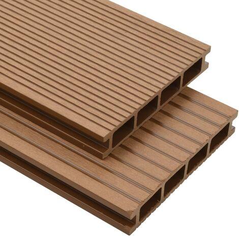 Panneaux de terrasse creux et accessoires WPC 16 m² 2,2 m Teck