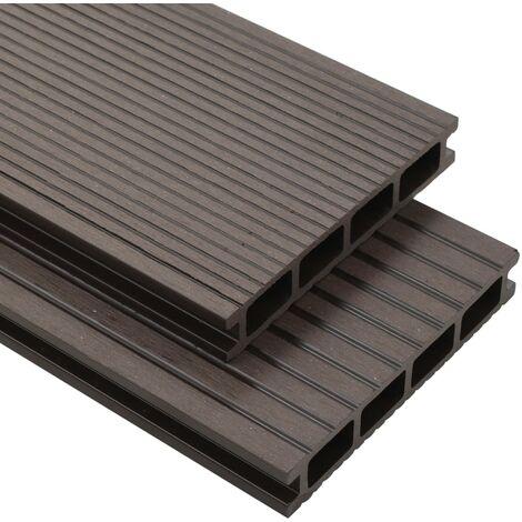 Panneaux de terrasse creux WPC 26 m² 2,2 m Marron foncé