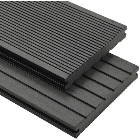 Panneaux de terrasse solides et accessoires WPC 20m² 2,2 m Gris