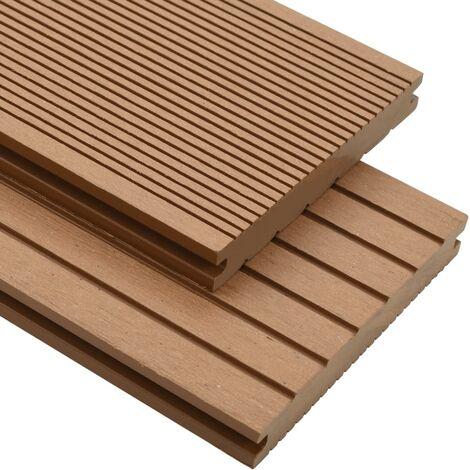 Panneaux de terrasse solides et accessoires WPC 20m² 2,2 m Teck