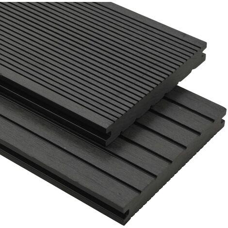 Panneaux de terrasse solides et accessoires WPC 25 m² 4 m Noir