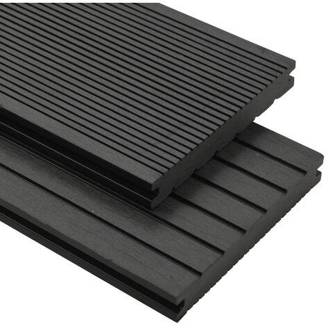Panneaux de terrasse solides et accessoires WPC 30m² 2,2 m Noir