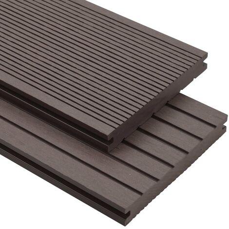 Panneaux de terrasse solides WPC 25 m² 4 m Marron foncé