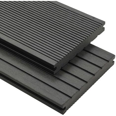 Panneaux de terrasse WPC solides et accessoires 10 m² 4 m Gris
