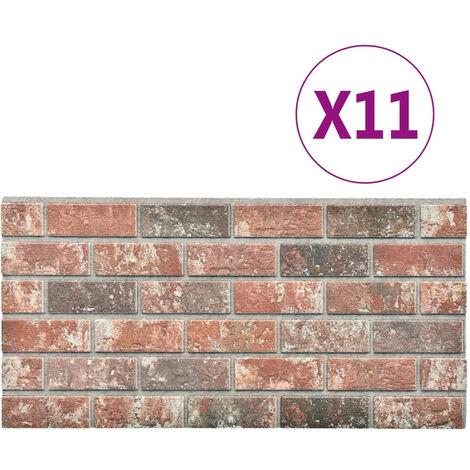 Panneaux muraux 3D design brique Gris et marron fonce 11pcs EPS