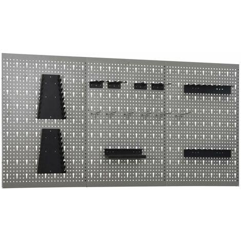 Panneaux perforés muraux 3 pcs 40x58 cm Acier