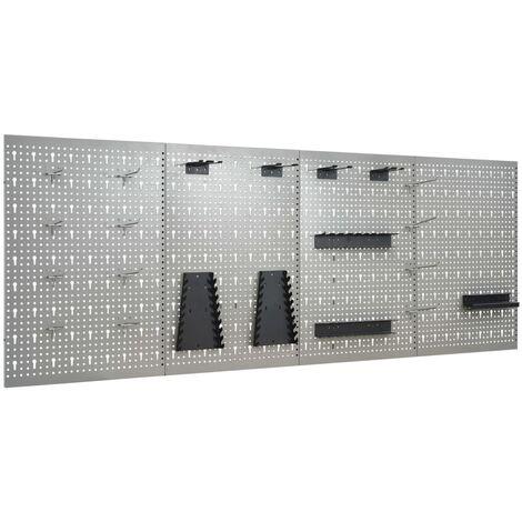 Panneaux perforés muraux 4 pcs 40x58 cm Acier