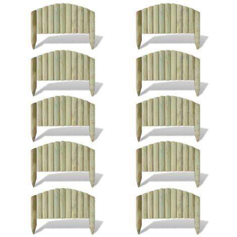 Pannelli di Recinzione per Prato 10 pz in Legno 55 cm