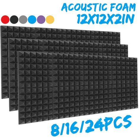 Pannelli fonoassorbenti in schiuma acustica da studio spessi 30x30x5cm Pannelli per piastrelle angolari (nero, solo 1 pz)