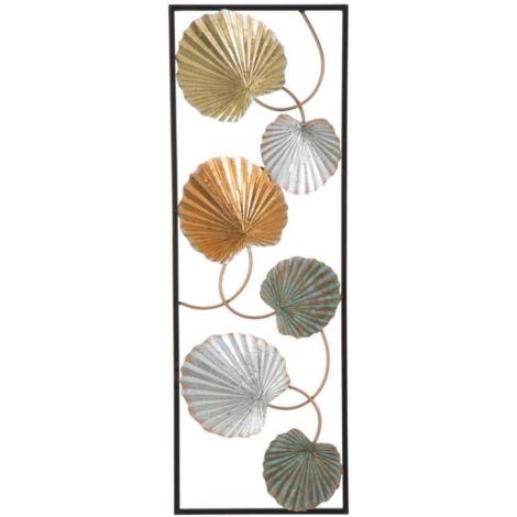 Pannello 3D foglie in ferro laccato da parete decorazioni casa glamour LOPPY -B-