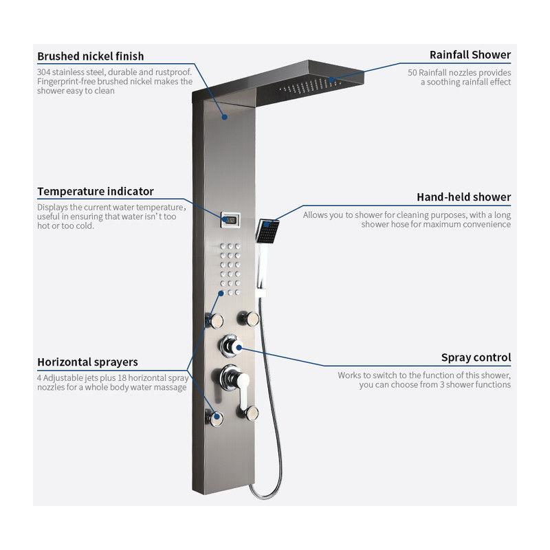 Colonna Doccia Multifunzione Idromassaggio Pannello Doccia a Pioggia LED soffione doccia Set Acciaio Inox Spazzolato con Indicatore della Temperatura Display LED 130 x 20 cm
