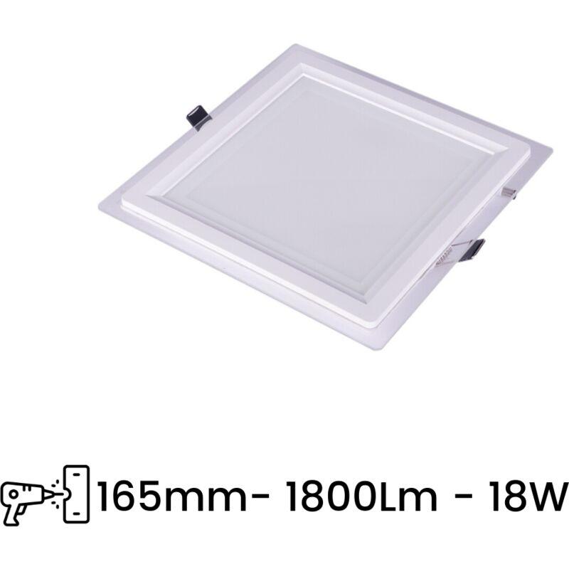 Pannello LED Slim P165E 18W Incasso Quadrato in PVC Bianco Caldo, Freddo, Naturale   Tipo di Luce: Bianco Freddo 6500K - SESAMALL