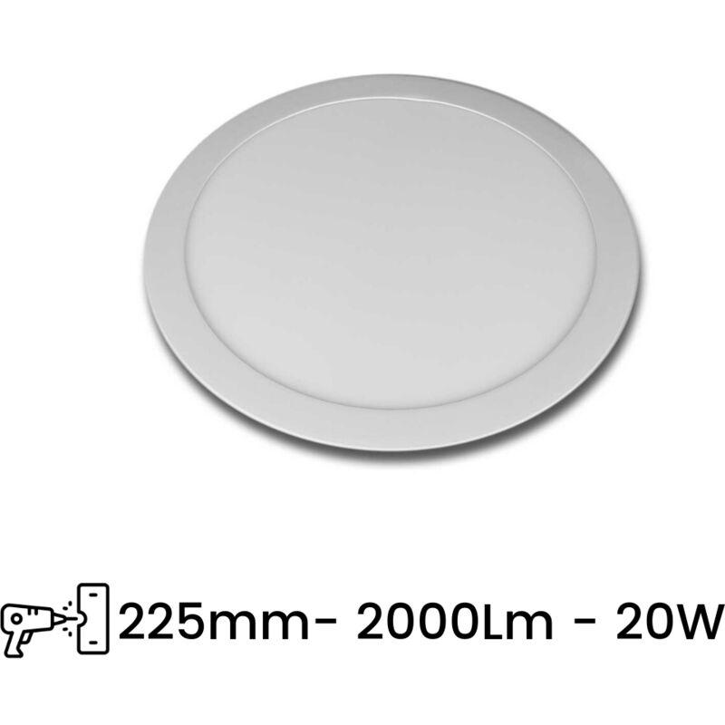 Pannello LED Slim P225A 20W Incasso Rotondo Bianco Caldo, Freddo, Naturale   Tipo di Luce: Bianco Caldo 3000K - SESAMALL
