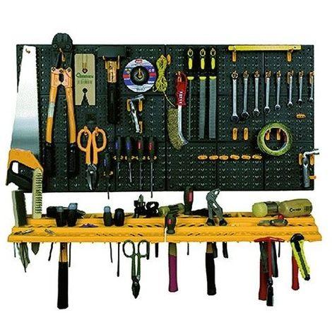Pannello porta utensili da parete mensola 6 contenitori 19 ganci in polipropilen