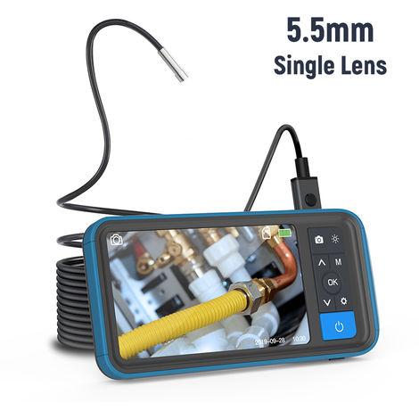 Pantalla 4.5inch color de alta definicion digital del endoscopio, de 5,5 mm de un solo objetivo IP67 a prueba de agua la cemara de brillo ajustable ayuda del video de 8 idiomas Boroscopio con 5m de tipo serpiente de inspeccion de tubos Instrumento MS450