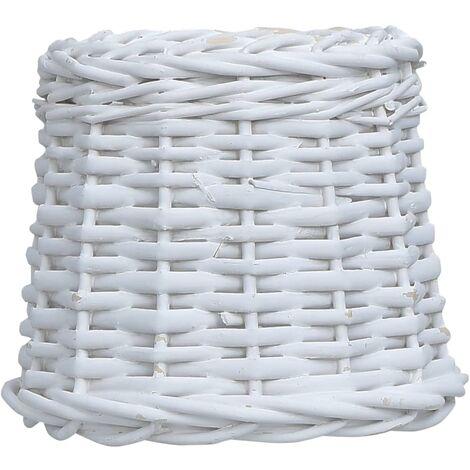 Pantalla de lámpara de mimbre blanco 15x12 cm
