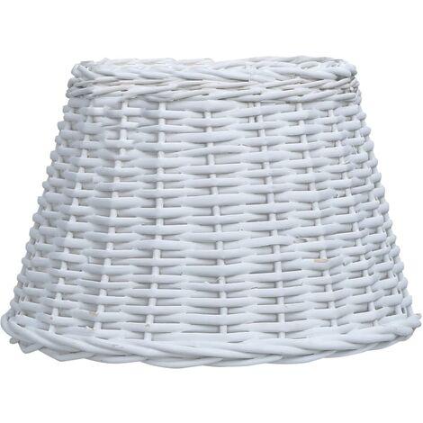 Pantalla de lámpara de mimbre blanco 40x26 cm