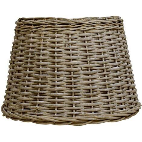 Pantalla de lámpara de mimbre marrón 40x26 cm