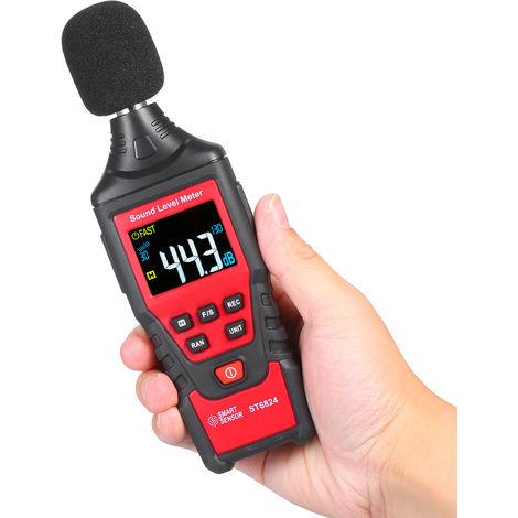 Pantalla de SMART SENSOR ST6824 Digital Decibel Meter color LCD portatil de ruido Sonometro con herramienta de rango Bolsa de 30-130dB (A ponderado) para la Escuela Aula ninos (bateria no incluida)