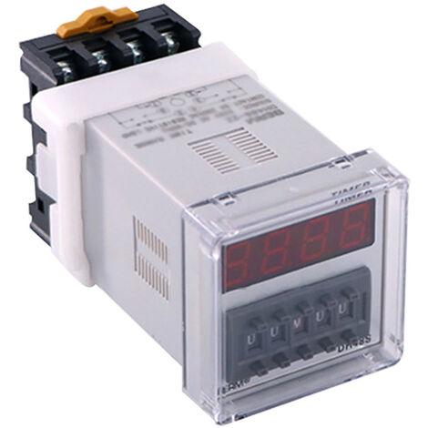 Pantalla DH48S-2ZH Digital Tiempo rele con la base del zocalo LED energizado Tiempo de retardo de rele que hora Configuracion de 0,01 s-99H99M, 220V, 3 #