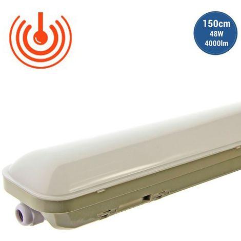 Pantalla estanca LED 150cm 48W 4000lm IP65 con sensor de presencia