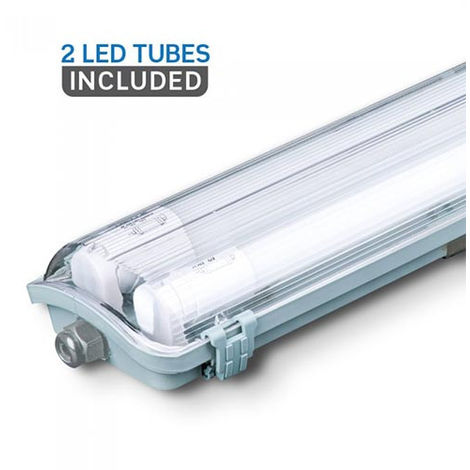 Pantalla estanca LED 2x120cm con tubos incluidos (2x18W) IP65 Temperatura de color - 6400K Blanco frío