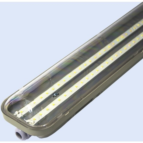 Pantalla estanca LED integrado 150cm 48W 4000lm IP65 | Blanco Frío - Transparente