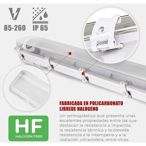 Pantalla estanca vacia IP65 para un tubo o dos Tubos de LED(No incluido tubo) 1200MM material libre de halogeno interior y exterior barra cocina AVANCE LED