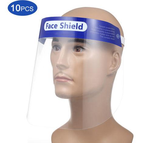 Pantalla facial protectora, visera transparente abatible, transparente, 10 piezas