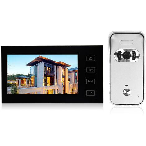 Pantalla LCD de 7 pulgadas monitor de video en color espectador de la puerta timbre de la puerta, boton del tacto videoporteros de monitor Kit