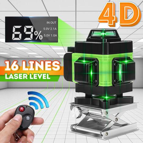 Pantalla LED 4D Nivel láser Luz verde 360 ° Cruce de 16 líneas