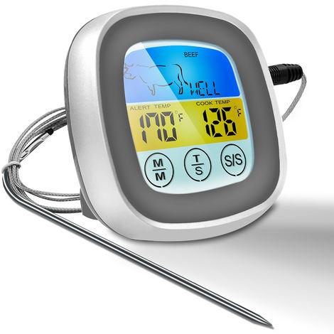 Pantalla tactil Comida Barbacoa BBQ Grill Ahumador Termometro, Temporizador de alerta, Gris