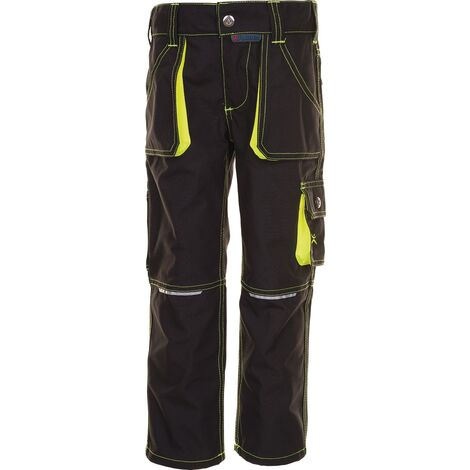 Pantalon à ceinture p. enfants Junior taille 122/128 anthracite/jaune 65 % PES / 35 % CO