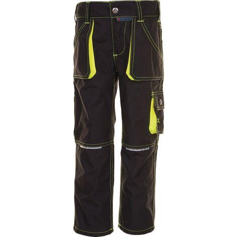 Pantalon à ceinture p. enfants Junior taille 134/140 anthracite/jaune 65 % PES / 35 % CO