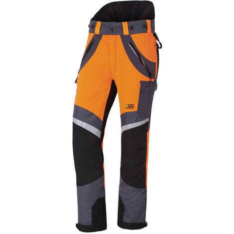 Pantalon anti-coupures X-treme Air orange/gris, Coupe sport