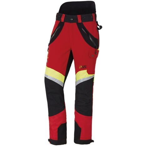 Pantalon anti-coupures X-treme Air rouge/jaune, Coupe sport