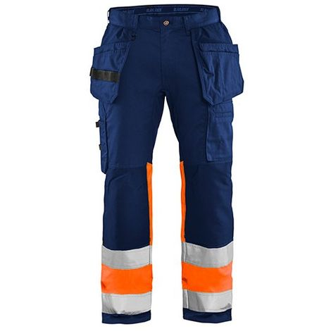 Pantalon artisan haute-visibilité stretch - 8953 Marine/Orange fluo - Blaklader
