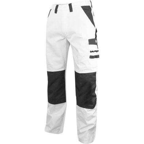 Pantalon artisan peintre bicolore avec poches genouillères - Gamme Peinture - CREPI - BLANC-GRIS - 1084 - LMA Lebeurre