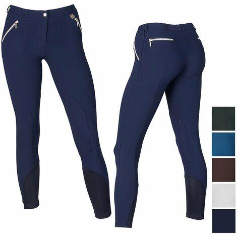 Pantalon d'équitation féminin en microfibre extensible avec fermeture éclair Sartore