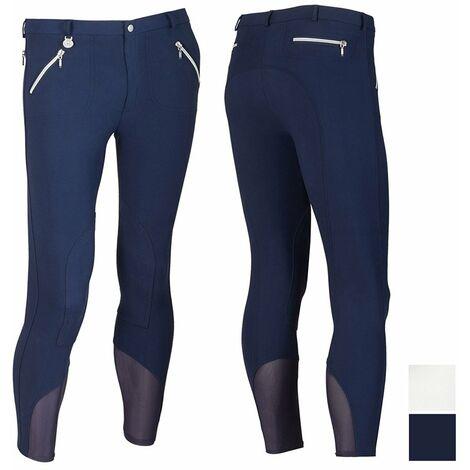 Pantalon d'équitation homme en microfibre extensible avec fermetures éclair argentées Sartore