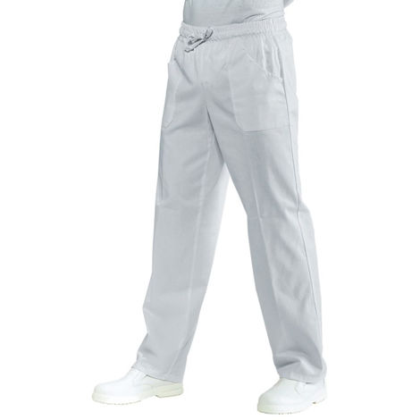 Pantalon de cuisine blanc Isacco 100% coton taille élastiquée Blanc
