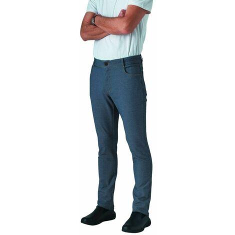 Pantalon de cuisine jean stretch Robur Austin 100% coton Bleu