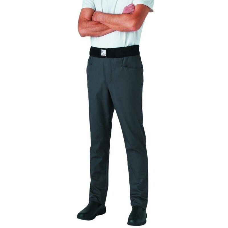 Pantalon de cuisine mixte slim ceinture éponge Archet Gris L - Robur