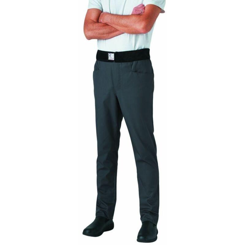 Pantalon de cuisine mixte slim ceinture éponge Archet Gris XXL - Robur