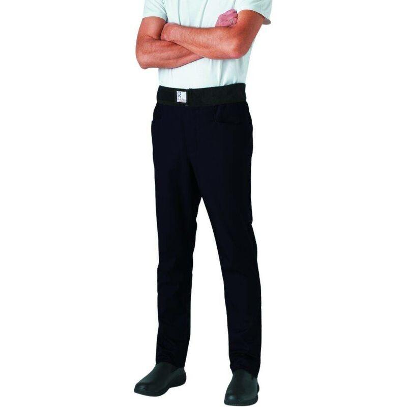 Pantalon de cuisine mixte slim ceinture éponge Archet Noir S - Robur